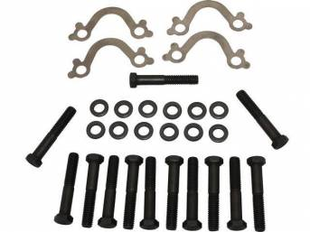 FASTENER KIT, Exhaust Manifolds to Engine Block, (28) incl HX bolts, flat washers and stainless steel french locks, OE-correct repro