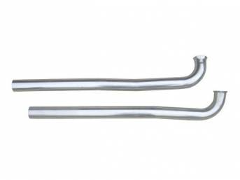 PIPE, EXHAUST DOWN, 2 1/2 Inch Diameter, Stainless, Pypes, Attaches to Factory Manifolds, Connects Most Aftermarket Crossmember-Back Exhaust Systems