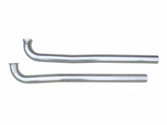 PIPE, EXHAUST DOWN, 2 1/2 Inch Diameter, Stainless, Pypes, Attaches to Factory Manifolds To Connect To Most Aftermarket Crossmember-Back Exhaust Systems