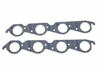 Gasket Set, Exhaust Header, 2.13 Inch Diameter (Large Race Port Size, Round Port Shape), Fel Pro, Perforated Steel Core W/ Anti-Stick Backing
