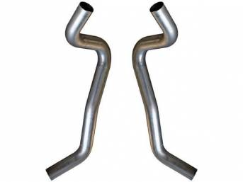 TAIL PIPE SET, 3 inch Aluminized, Flowmaster, Turn down style that exit just behind the rear tire at the quarter panel, Does not incl hardware or hangers