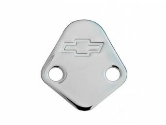 BLOCK-OFF PLATE, FUEL PUMP, CHROME W/ BOWTIE EMBLEM, INCLS GASKET, GM Licensed item, repro