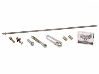 SHIFT LINKAGE KIT, Steering Column, adjustable, connects the column arm to the transmission shift arm, works w/ original GM or aftermarket columns, incl a cut-to-fit stainless connecting rod, bushings, rod ends and hardware, connecting rod can be bent for