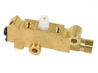 COMBINATION VALVE, Brake Pressure Regulator / Distribution, tuned for front disc / rear drum brake systems, does not incl bracket, natural brass finish, repro