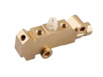 COMBINATION VALVE, Brake Pressure Regulator / Distribution, tuned for 4-wheel disc brake systems, does not incl bracket, natural brass finish, repro