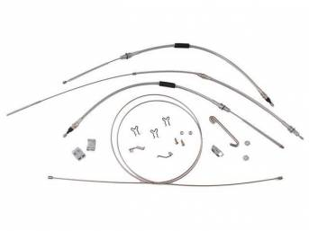 CABLE KIT, Parking Brake, incl front, intermediate, and rear cables, plus hardware, for a complete installation, stainless steel cables (non-OE style), repro