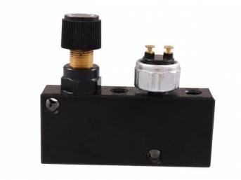 VALVE, Brake Distribution and Proportioning, aluminum, black anodized