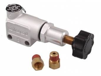 VALVE, Brake Fluid Proportioning, aluminum, incl a pair of 1/8 inch-27 NPT to 3/8 inch-24 inverted flare fittings (in / out ports on valve are 3/8 inch-24 inverted flare), allows for up to 57 percent decrease in line pressure, cast finish w/ black knob, W