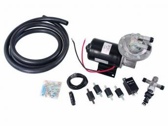 PUMP, Electric Vacuum, Power Brakes, provides extra vacuum when engine produces less than 16-18 inches of vacuum due to a bigger camshaft or other performance upgrades, incl pump, wiring, mounting insulators and hardware, relay and hose, The Right Stuff D