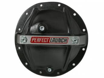 COVER, Differential / Rear End, GIRDLE-STYLE, 12-BOLT, W/ 8.875 Inch Ring Gear, ALUMINUM BLACK W/ PERFECT LAUNCH LOGO, W/ Filler AND DRAIN Plug, Repro