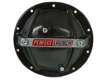 """COVER, Differential / Rear End, 10 Bolt w/ 8.2"""" or 8.5"""" ring gear, girdle style, aluminum w/ *perfect launch* logo in black finish, incl filler and drain plug, Proform repro"""