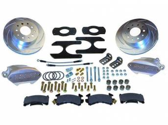 Rear Drum to Disc Conversion Kit, R1 clear anodized 1 piston aluminum calipers, SSBC
