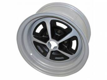 WHEEL, Magnum, 14 Inch O.D. X 7 Inch Width, 5 x 4 3/4 Inch Bolt Circle, 4 3/8 Inch Back Spacing, Metallic Silver W/ gloss black accents, US-Made Repro