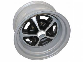 WHEEL, Magnum, 14 Inch O.D. X 8 Inch Width, 5 x 4 3/4 Inch Bolt Circle, 4 1/2 Inch Back Spacing, Metallic Silver W/ gloss black accents, US-Made Repro