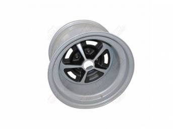 WHEEL, Magnum, 15 Inch O.D. X 10 Inch Width, 5 x 4 3/4 Inch Bolt Circle, 5 Inch Back Spacing, Metallic Silver W/ gloss black accents, US-Made Repro