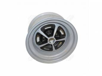 WHEEL, Magnum, 15 Inch O.D. X 8 Inch Width, 5 x 4 3/4 Inch Bolt Circle, 4 1/2 Inch Back Spacing, Metallic Silver W/ gloss black accents, US-Made Repro