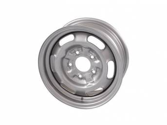 WHEEL, Rally I, 14 Inch O.D. X 6 Inch Width, 5 x 4 3/4 Inch Bolt Circle, 4 Inch Back Spacing, Silver powder coated finish, US-Made Repro