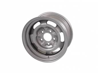 WHEEL, Rally I, 14 Inch O.D. X 7 Inch Width, 5 x 4 3/4 Inch Bolt Circle, 4 1/4 Inch Back Spacing, Silver powder coated Finish, US-Made Repro