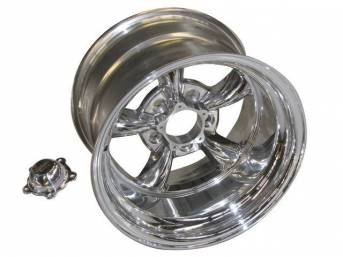 Wheel, Torq Thrust II, one piece Polished Alloy, 15 Inch O.D. X 10 Inch Width, 5 x 4 3/4 Inch Bolt Circle, 3 3/4 Inch Back Spacing, Incl Center Cap