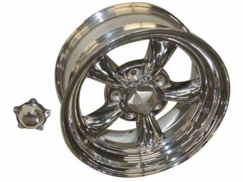 Wheel, Torq Thrust II, one piece Polished Alloy, 15 Inch O.D. X 7 Inch Width, 5 x 4 3/4 Inch Bolt Circle, 3 3/4 Inch Back Spacing, Incl Center Cap