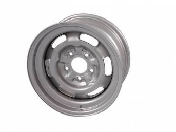 WHEEL, Rally I, 15 Inch O.D. X 7 Inch Width, 5 x 4 3/4 Inch Bolt Circle, 4 1/4 Inch Back Spacing, Silver powder coated Finish, US-Made Repro