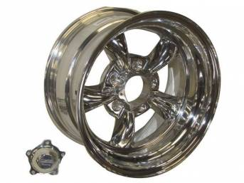 Wheel, Torq Thrust II, one piece Polished Alloy, 15 Inch O.D. X 8 Inch Width, 5 x 4 3/4 Inch Bolt Circle, 3 3/4 Inch Back Spacing, Incl Center Cap