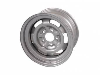 WHEEL, Rally I, 15 Inch O.D. X 8 Inch Width, 5 x 4 3/4 Inch Bolt Circle, 5 Inch Back Spacing, Silver powder coat finish, US-Made Repro