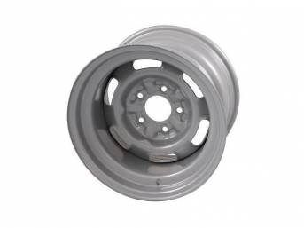WHEEL, Rally I, 15 Inch O.D. X 10 Inch Width, 5 x 4 3/4 Inch Bolt Circle, 5 Inch Back Spacing, Silver powder coated Finish, US-Made Repro