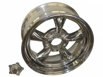 Wheel, Torq Thrust II, one piece Polished Alloy, 16 Inch O.D. X 7 Inch Width, 5 x 4 3/4 Inch Bolt Circle, 4 Inch Back Spacing, Incl Center Cap
