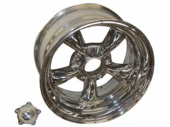 Wheel, Torq Thrust II, one piece Polished Alloy, 16 Inch O.D. X 8 Inch Width, 5 x 4 3/4 Inch Bolt Circle, 4 Inch Back Spacing, Incl Center Cap