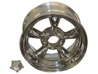Wheel, Torq Thrust II, one piece Polished Alloy, 16 Inch O.D. X 8 Inch Width, 5 x 4 3/4 Inch Bolt Circle, 4 3/4 Inch Back Spacing, Incl Center Cap