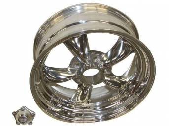 Wheel, Torq Thrust II, one piece Polished Alloy, 17 Inch O.D. X 7 Inch Width, 5 x 4 3/4 Inch Bolt Circle, 4 Inch Back Spacing, Incl Center Cap