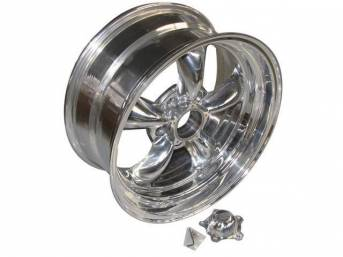 Wheel, Torq Thrust II, one piece Polished Alloy, 17 Inch O.D. X 8 Inch Width, 5 x 4 3/4 Inch Bolt Circle, 4 3/4 Inch Back Spacing, Incl Center Cap
