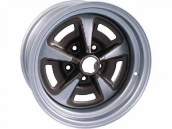 WHEEL, Rally II, 15 Inch O.D. X 7 Inch Width, 5 x 4 3/4 Inch Bolt Circle, 4 1/4 Inch Back Spacing, Metallic Silver W/ Gray Metallic accents, US-Made Repro