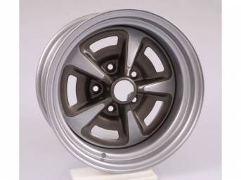WHEEL, Rally II, 15 Inch O.D. X 8 Inch Width, 5 x 4 3/4 Inch Bolt Circle, 4 1/2 Inch Back Spacing, Metallic Silver W/ Gray Metallic accents, US-Made Repro