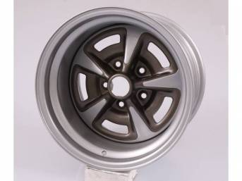WHEEL, Rally II, 15 Inch O.D. X 10 Inch Width, 5 x 4 3/4 Inch Bolt Circle, 5 Inch Back Spacing, Metallic Silver W/ Gray Metallic accents, US-Made Repro