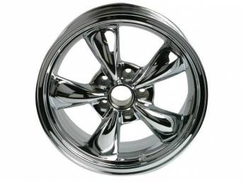 Wheel, Torq Thrust M, one-piece cast aluminum chrome plated, 17 Inch O.D. X 8 Inch Width, 5 x 4 3/4 Inch Bolt Circle, 4.5 Inch Back Spacing