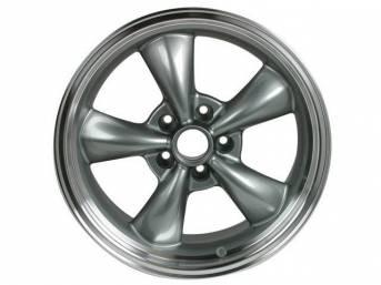 Wheel, Torq Thrust M, one-piece cast aluminum w/ Gun Metal center and machined lip, 18 Inch O.D. X 8 Inch Width, 5 x 4 3/4 Inch Bolt Circle, 4.5 Inch Back Spacing