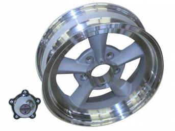 Wheel, Torq Thrust Original, Natural Outer Rim W/ Light Magnesium Center, 15 Inch O.D. X 5 Inch Width, 5 x 4 3/4 Inch Bolt Circle, 2 1/2 Inch Back Spacing