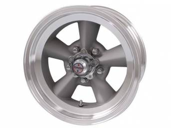 Wheel, Torq Thrust Original, Natural Outer Rim W/ Light Magnesium Center, 15 Inch O.D. X 7 Inch Width, 5 x 4 3/4 Inch Bolt Circle, 3 3/4 Inch Back Spacing