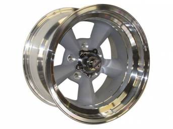 Wheel, Torq Thrust Original, Natural Outer Rim W/ Light Magnesium Center, 15 Inch O.D. X 8.5 Inch Width, 5 x 4 3/4 Inch Bolt Circle, 3 3/4 Inch Back Spacing