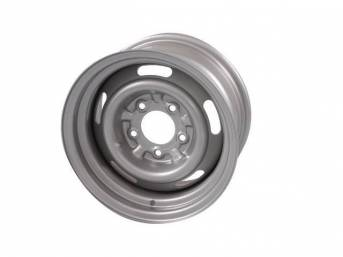 WHEEL, Slotted Rally, 14 Inch O.D. X 7 Inch Width, 5 x 4 3/4 Inch Bolt Circle, 4 1/4 Inch Back Spacing, Powder coated metallic silver finish, US-Made Repro