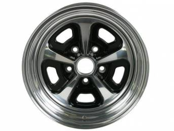 Wheel, Custom 500, 2-pc Alloy, painted center w/ polished lip, 15 Inch O.D. X 8 Inch Width, 5 x 4 3/4 Inch Bolt Circle, 4 1/2 Inch Back Spacing