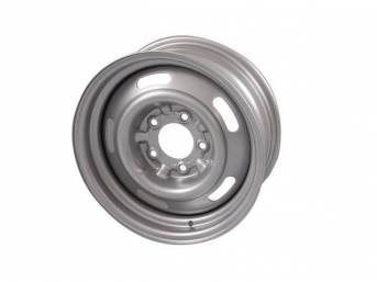 WHEEL, Slotted Rally, 15 Inch O.D. X 6 Inch Width, 5 x 4 3/4 Inch Bolt Circle, 4 Inch Back Spacing, Powder coated metallic silver finish, US-Made Repro