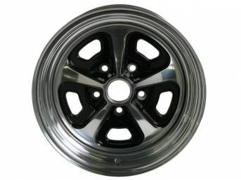 Wheel, Custom 500, 2-pc Alloy, painted center w/ polished lip, 17 Inch O.D. X 7 Inch Width, 5 x 4 3/4 Inch Bolt Circle, 4 Inch Back Spacing
