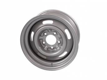 WHEEL, Slotted Rally, 15 Inch O.D. X 7 Inch Width, 5 x 4 3/4 Inch Bolt Circle, 4 1/4 Inch Back Spacing, Powder coated metallic silver finish, US-Made Repro