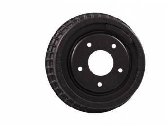 DRUM, Brake, Rear, W/ Fins, 9 1/2 inch diameter x 2 inch depth on shoe area, repro