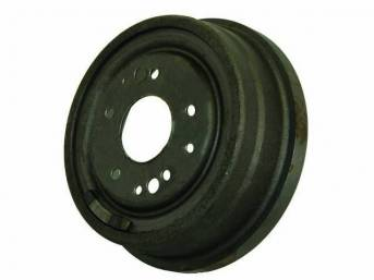 DRUM, Brake, Front, W/O Fins, 9 1/2 inch diameter x 2 1/2 inch depth on shoe area, repro