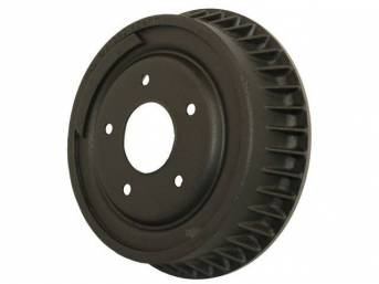 DRUM, Brake, Front, W/ Fins, 9 1/2 inch diameter x 2 1/2 inch depth on shoe area, repro