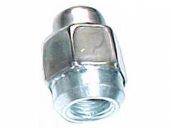 LUG NUT, Hex Capped Cone Seat, 7/16 Inch-20 thread, bright finish, OE-style repro  ** when using on original wheels, please check seat before tightening **